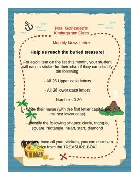 Pirate Themed Newletter and Progress Monitoring Chart