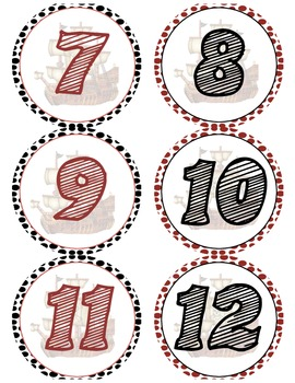 Pirate Themed Number Signs