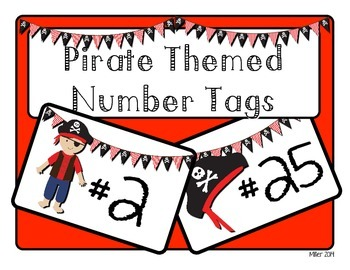 Pirate Themed Number Tags