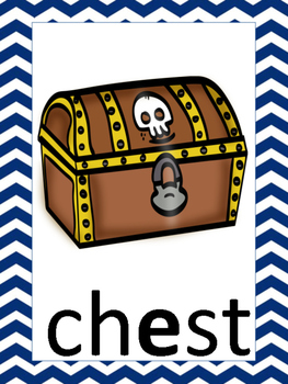 Pirate Themed Phonics Posters with Navy Chevron