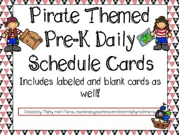 Pirate Themed Pre-K Daily Schedule Cards, Blank set included