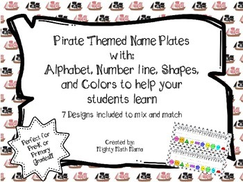 Pirate Themed Primary Name Plates with Alphabet, Number line, Shapes, and Colors