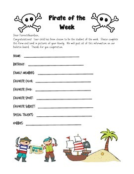 Pirate Themed Student of the Week