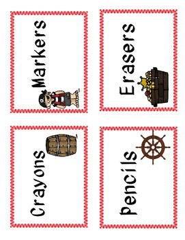Pirate Themed Supply Labels