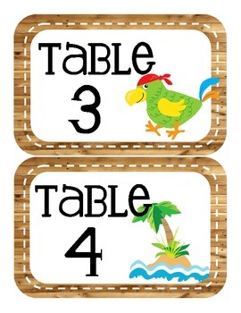Pirate Themed Table Numbers (only)