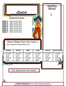 Pirate Themed Weekly Newsletter