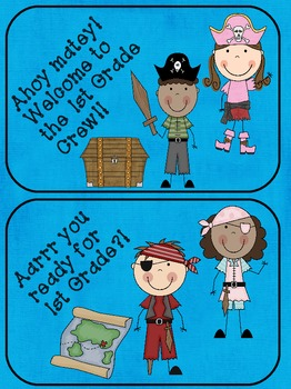"""Pirate Themed """"Welcome Back"""" postcards"""