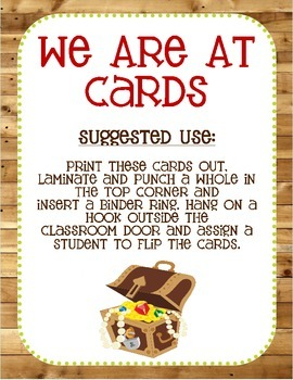 """Pirate Themed """"Where We Are"""" Cards"""