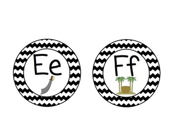 Pirate Themed Word Wall Alphabet with Black Chevron: