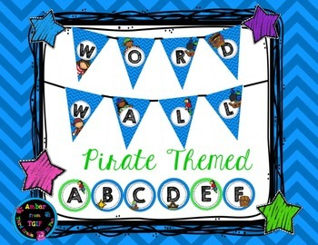 Pirate Themed Word Wall Banner and Letters