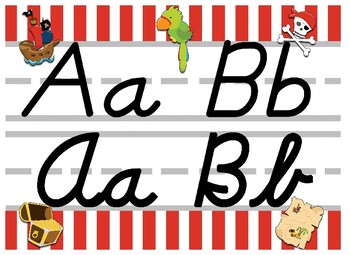 Pirate Themed cursive and print alphabet strip