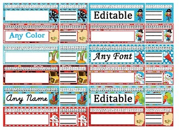 Pirate Themed editable nameplates