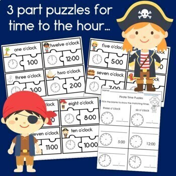 Pirate Time Puzzles Time to the Hour & Half Hour