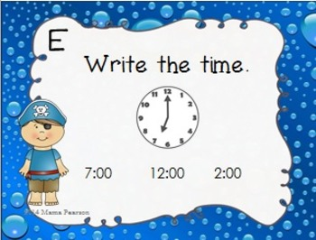 Pirate Time Task Cards-Hour and Half Hour