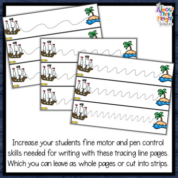 Pirate Tracing Lines for Path of Motion & Fine Motor Skill development