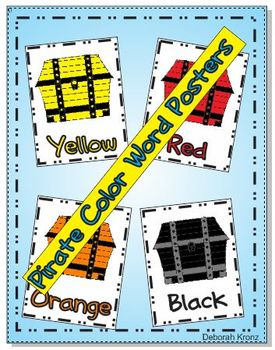 Pirate Treasure Box Color Word Posters