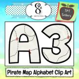 Pirate Treasure Map Alphabet Clip Art