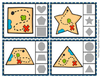 Pirate Treasure Map Shapes Clip Cards