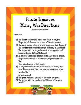 Money Games -Pirate Treasure Money War and Task Cards!
