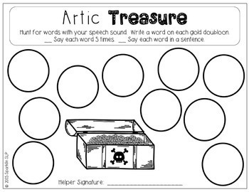 Pirate Treasure:  Open Ended Articulation Homework