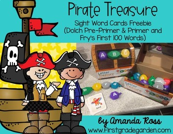 Pirate Treasure Sight Word Cards Freebie {Dolch and Fry}