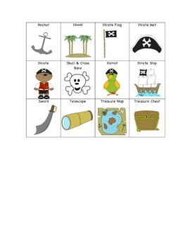 Pirate Vocabulary Bingo