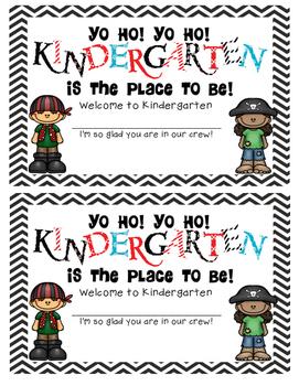 Pirate Welcome to Kindergarten Certificate