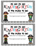 Pirate Welcome to Kindergarten Certificate