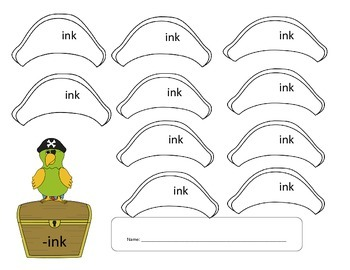 Pirate Word Family Fun - INK Word Family Activity/Project Set - NO PREP
