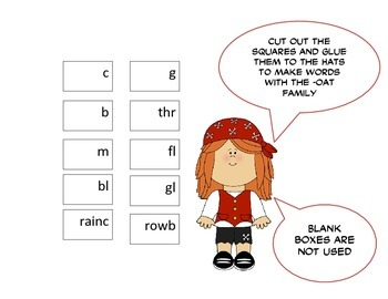Pirate Word Family Fun - OAT Word Family Activity/Project Set - NO PREP