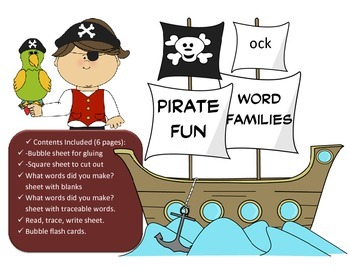 Pirate Word Family Fun - OCK Word Family Activity/Project Set - NO PREP