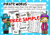 Pirate Sight Words A Free Sample Set.