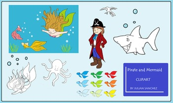 """Pirate and Mermaid"" Clipart  (only for personal and commercial use)"