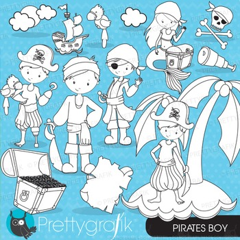Pirate boy stamps commercial use, vector graphics, images - DS647
