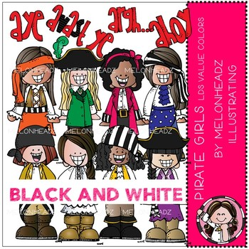Pirate clip art - Girls - BLACK AND WHITE - by Melonheadz