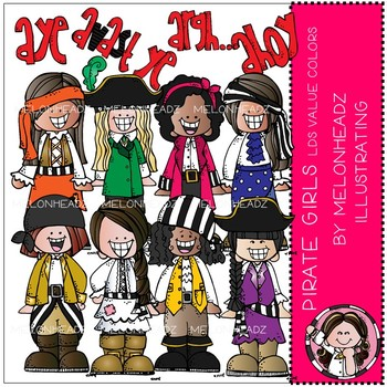Pirate clip art - Girls - COMBO PACK - LDS value colors - by Melonheadz