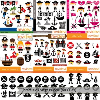 Pirate clip art: Pirate kids clipart Mega Bundle (9 packs)