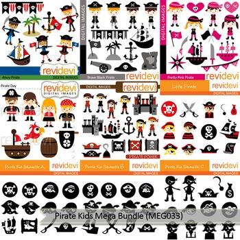 Pirate clip art: Pirate kids clipart Mega Bundle (9 packs)