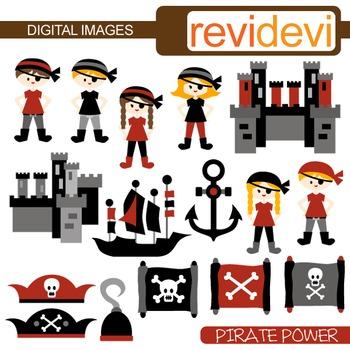 Pirate clip art (map, kids, castle)