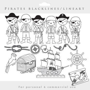 Pirate clipart blacklines clip art line art lineart black lines ship treasure
