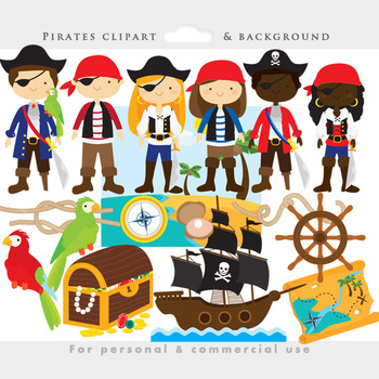 Pirate clipart - pirates clip art, eyepatch, booty, ship, treasure chest, parrot