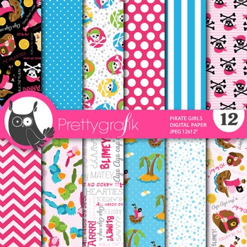 Pirate digital paper, commercial use, scrapbook papers - PS649