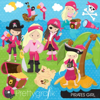 Pirate girl clipart commercial use, vector graphics, digital - CL648