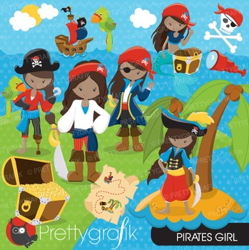 Pirate girl clipart commercial use, vector graphics, digital - CL678