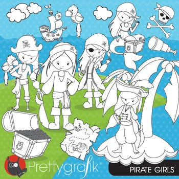Pirate girl stamps commercial use, vector graphics, images - DS663