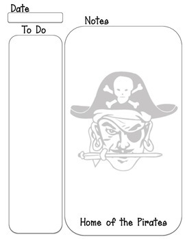 Pirate mascot To do, note taking sheet