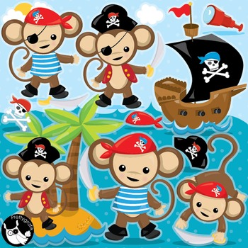 Pirate monkeys clipart commercial use, vector graphics, digital  - CL986