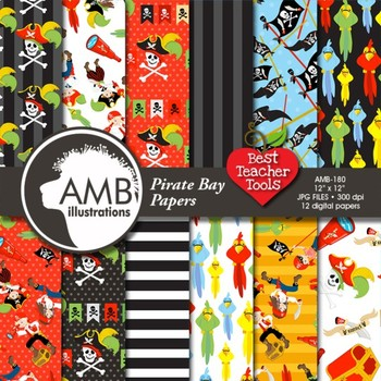 Pirate Digital Papers and Backgrounds, {Best Teacher Tools} AMB-179
