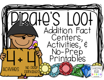 Pirate's Loot - Addition Facts Centers, Task Cards, and Pr