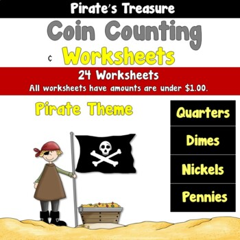 Pirate's Treasure Coin Counting Worksheets